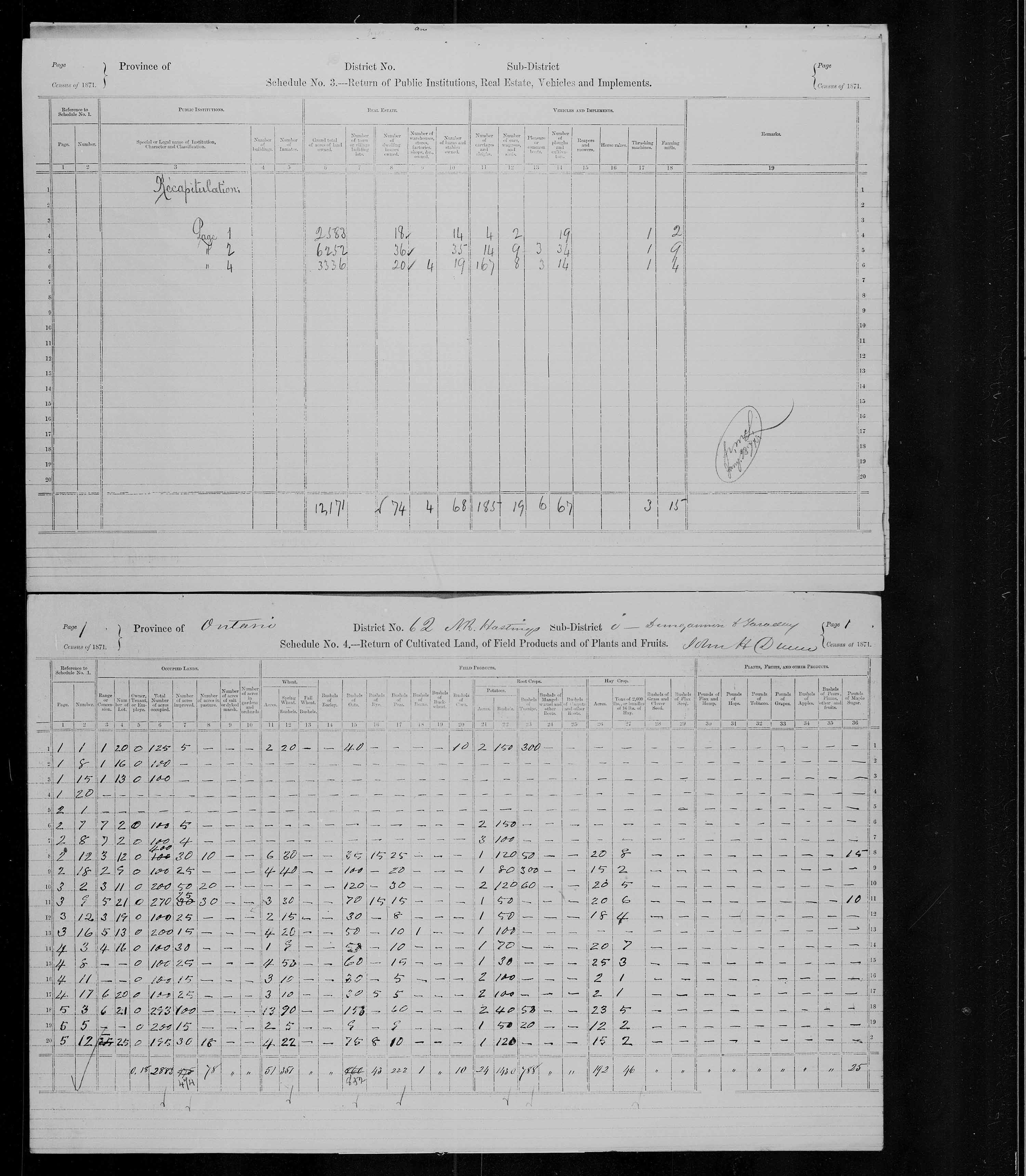 Title: Census of Canada, 1871 - Mikan Number: 142105 - Microform: c-9995