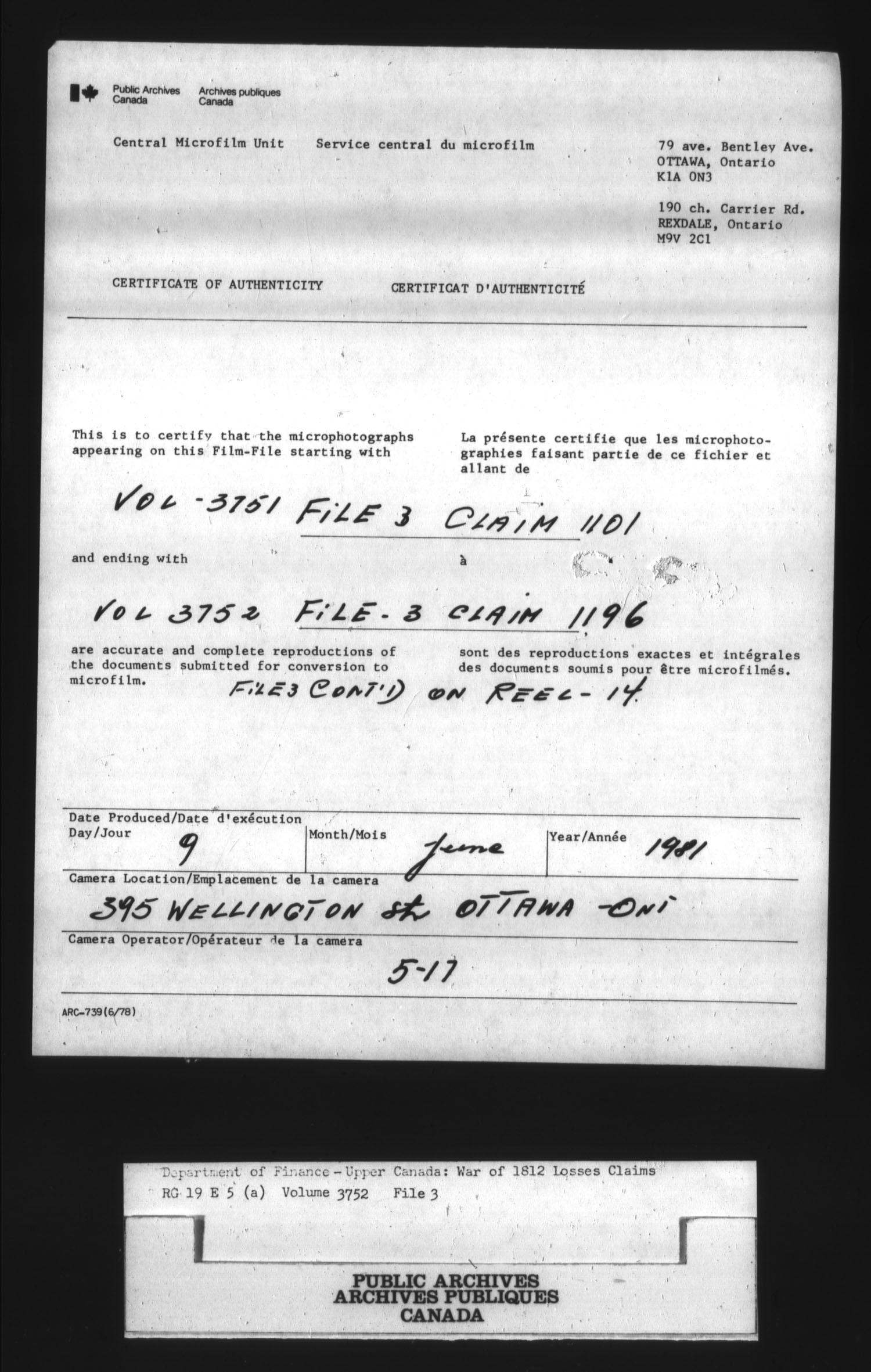 Titre: Guerre de 1812 : Commission des réclamations pour pertes subies, 1813-1848, RG 19 E5A - N° d'enregistrement Mikan: 163603 - Microforme: t-1134