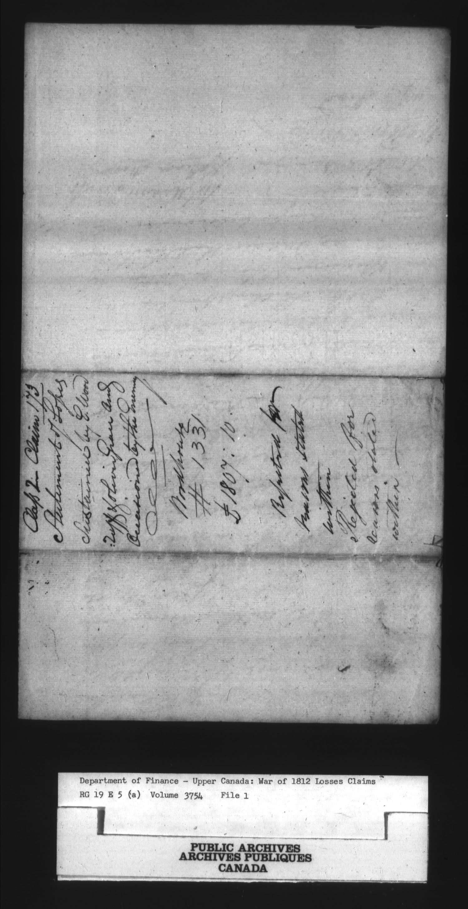 Title: War of 1812: Board of Claims for Losses, 1813-1848, RG 19 E5A - Mikan Number: 139215 - Microform: t-1136