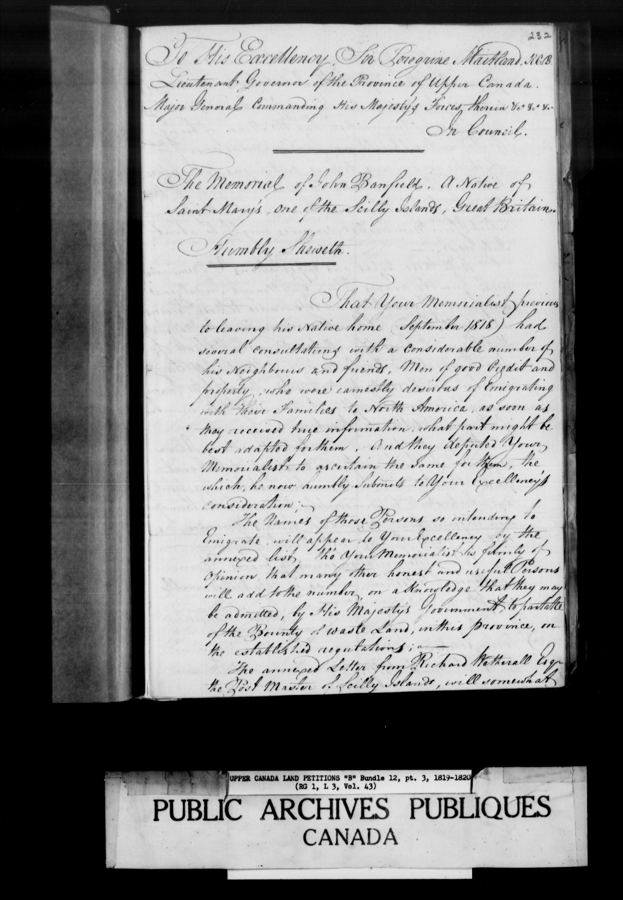 Title: Upper Canada Land Petitions (1763-1865) - Mikan Number: 205131 - Microform: c-1625