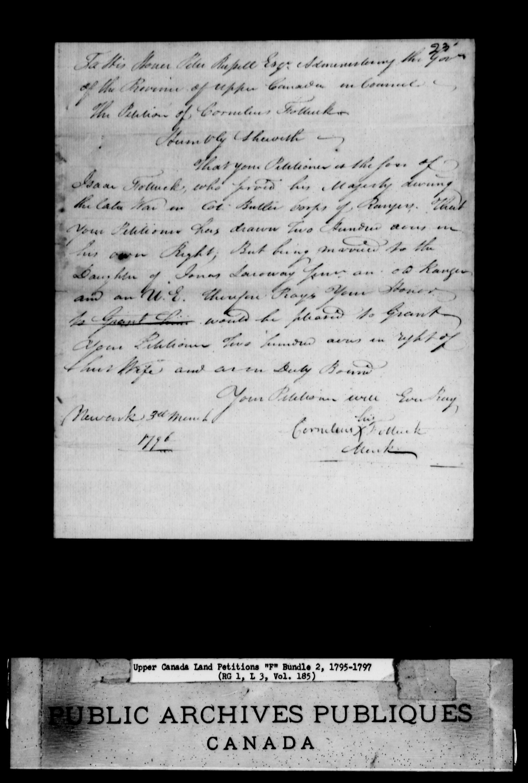 Titre: Demandes de terres du Haut-Canada (1763-1865) - N° d'enregistrement Mikan: 205131 - Microforme: c-1893