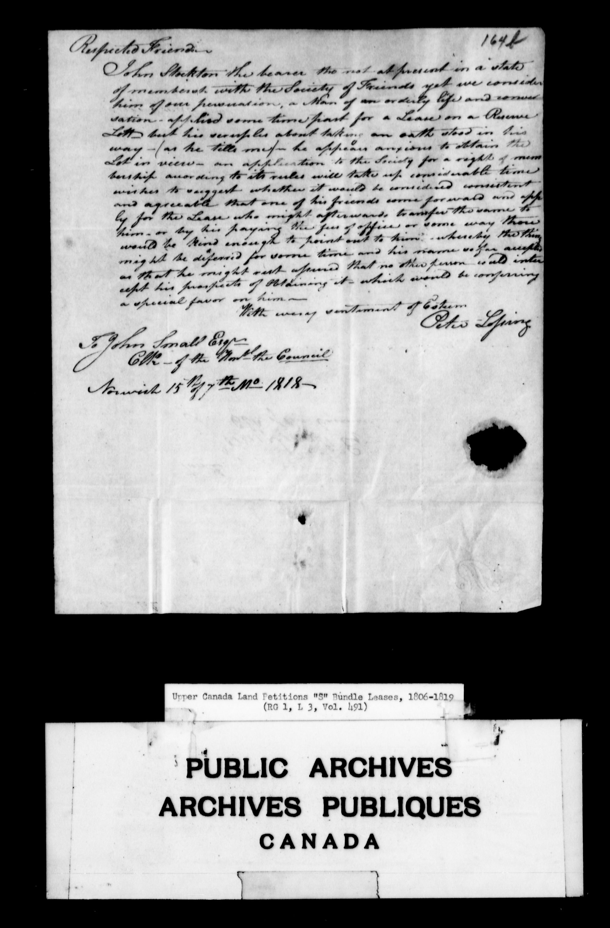 Title: Upper Canada Land Petitions (1763-1865) - Mikan Number: 205131 - Microform: c-2830