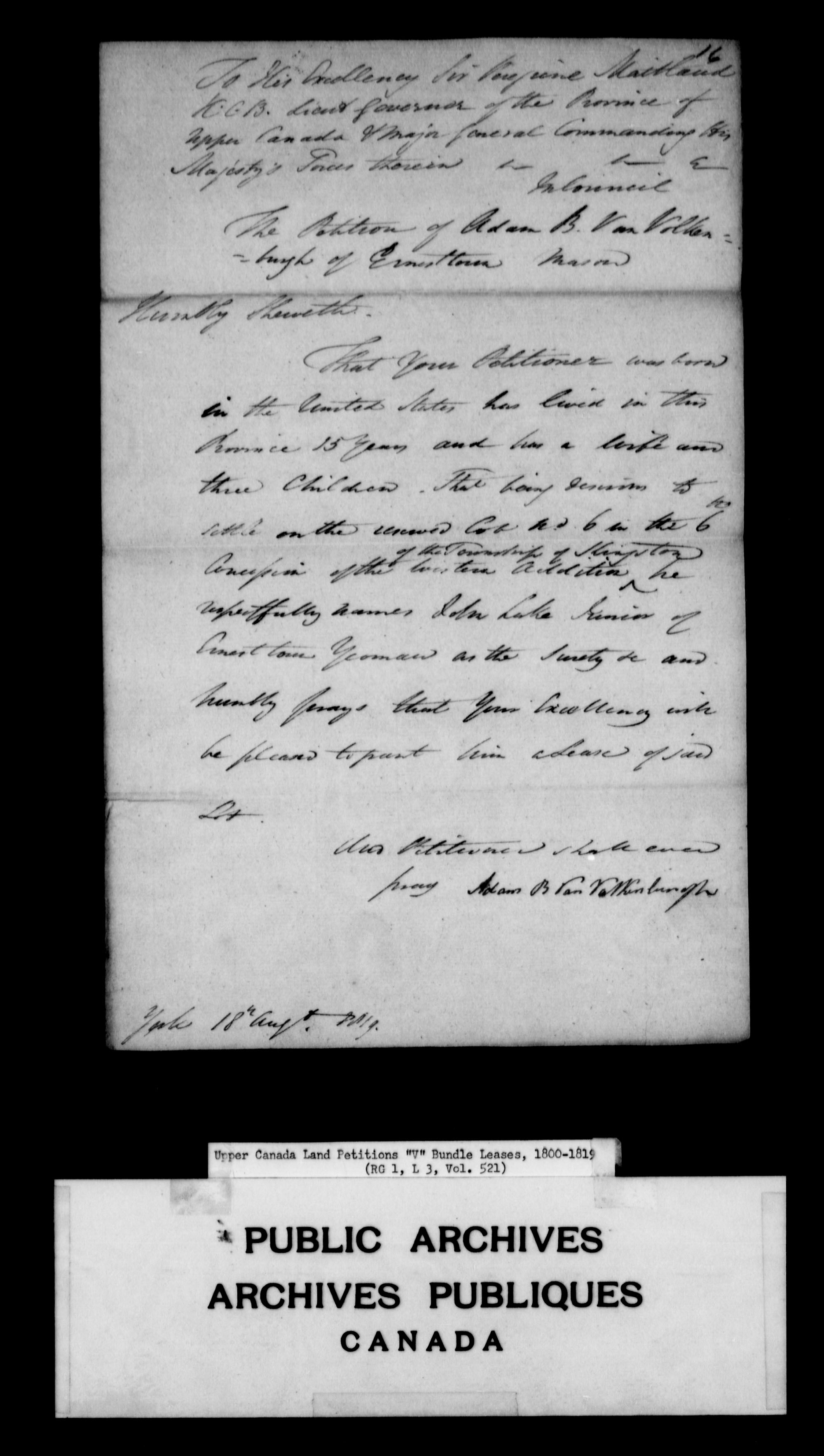 Title: Upper Canada Land Petitions (1763-1865) - Mikan Number: 205131 - Microform: c-2950